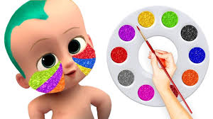 learn colors with balls fun baby boss care face painting body