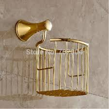 whole and retail luxury golden toilet roll paper basket wall
