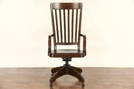 sold oak antique 1900 high back swivel adjustable library or
