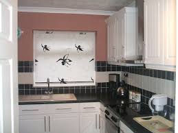 kitchen cheap black and white kitchen roller blind over the sink