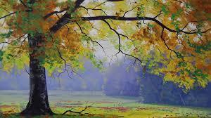 1920x1080 fall wallpaper 1920x1080 autumn tree u0026 grass painting desktop pc and mac wallpaper