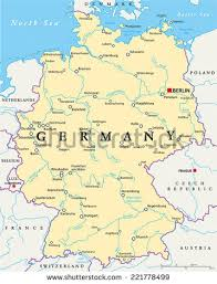 map of germany and surrounding countries with cities germany political map capital berlin national stock vector