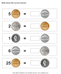 coin match worksheet turtle diary