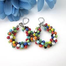 hoop beaded earrings multicolored seed bead earrings wire wrapped spiral med hoop