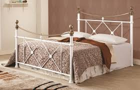 Bed Frame Metal Queen by Lucille Traditional White Gold Metal Queen Bed W Bed Frame The
