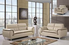 khaki and cappuccino tufted modern 3 piece leather sofa set