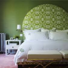 stylish green white combination color bedroom features green round