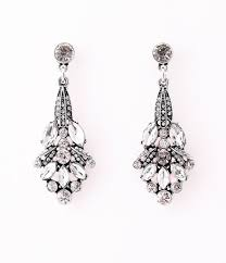 drop earrings 1920s style silver rhinestone nouveau flower drop earrings