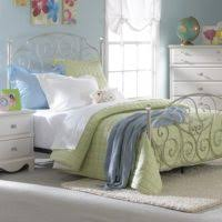 furniture rectangle silver metal bed with white bedding bed and
