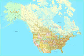 Map Of Alaska And Canada by Us And Canada Printable Map With All Roads Cities States All