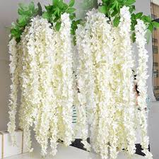 silk flowers bulk white wisteria garland 70 hanging flowers 5pcs for outdoor