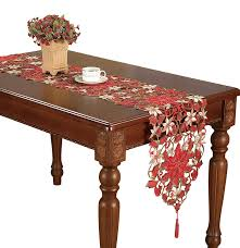 bella lux fine linens table runner amazon com simhomsen christmas holiday poinsettia lace table