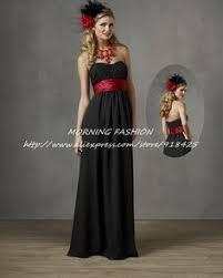 black bridesmaid dresses with red sash dreamlike simple black