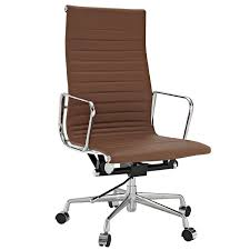 Leather Executive Desk Chair Amazon Com Modway Ribbed High Back Office Chair In Brown Genuine
