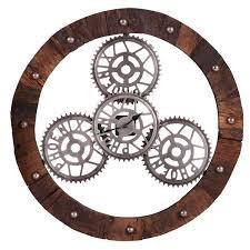 horloge murale engrenage horloge murale marron comparez les prix avec twenga