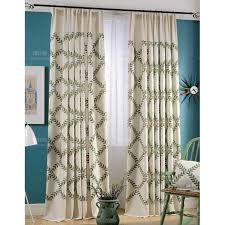 Long Living Room Curtains Lime Green And White Leaf Print Poly Cotton Blend Country Living