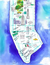 Nyc Maps Original Watercolor Map Illustration Of Nyc By Jessica Durrant