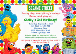 Example Of Invitation Card For Birthday Sesame Street Birthday Invitations Kawaiitheo Com