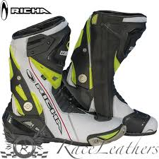 leather motorbike boots richa blade wp waterproof white fluo motorcycle motorbike sports