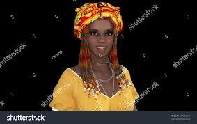 Beautiful Appearance Beautiful African Appearance 3d Illustration Stock