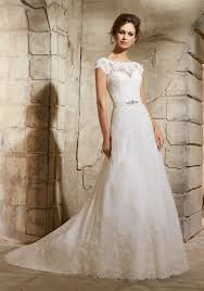 cheap wedding dresses in london embroidered lace appliques on net with wide border hemline morilee