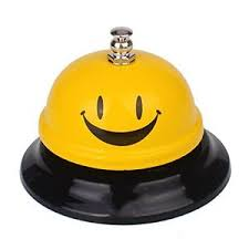 Yellow Reception Desk Smiley Face Hand Ring Desk Bell Yellow Reception Smile Premium