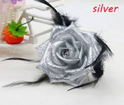 silver roses 1pcs new silver corsage glitter headdress flower feather