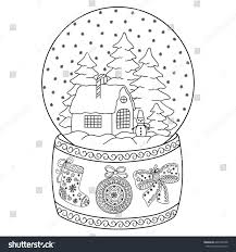 toy glass snow globe house coloring stock vector 646760758