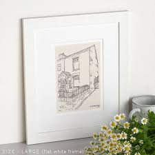 hand drawn bespoke house sketch by letterfest notonthehighstreet com