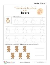 worksheet for number 6 tracing and counting with bears for more