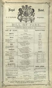 Barn Door Restaurant Menu by Hotel And Restaurant Menus Of The 1850s And 1860s Menu And