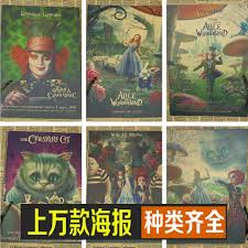 online get cheap mural alice in wonderland aliexpress com alice in wonderland retro movie poster kraft paper decorative painting core comic mural wallpaper draw stickers