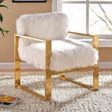 Gold Accent Chair Meridian Furniture 516fur Milo White Fur Accent Chair On Gold