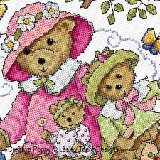 lesley teare designs teddy bears picnic cross stitch pattern