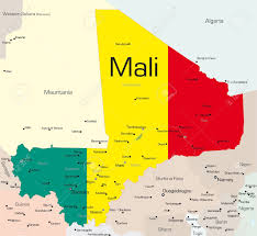 Mali World Map by Abstract Vector Color Map Of Mali Country Colored By National