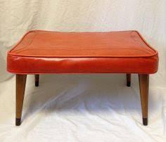 Vinyl Orange Ottoman Vintage Black Ottoman Stool Mid Century Modern Vinyl Wood Bench