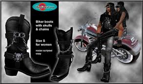 s boots biker second marketplace maycreations biker boots skull s for