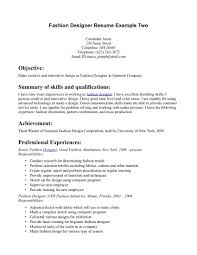 Resume Objective For Undergraduate Student Fashion Designer Resume Objective Resume For Your Job Application