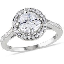 sterling silver engagement rings walmart 2 3 5 carat t g w cz sterling silver halo engagement ring