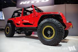 jeep wrangler unlimited half doors 2016 sema nitto tire evo spicy chicken jeep jk wrangler