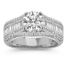 round setting rings images Baguette and round diamond platinum engagement ring with channel jpg