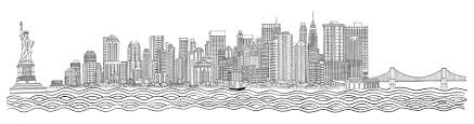 drawn skyline black and white pencil and in color drawn skyline
