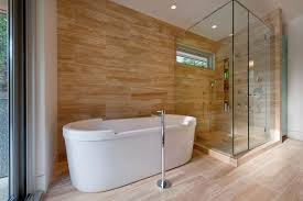Contemporary Bathtub Faucets Vancouver Faux Wood Tile Bathroom Contemporary With Clear Glass