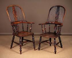 Windsor Armchairs Pair Mid 19th C Broad Arm Windsor Armchairs C 1850 508539