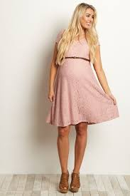 maternity dress pink lace belted maternity dress