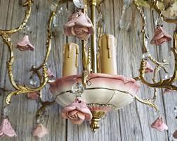 porcelain chandelier roses vintage ceramic chandelier etsy