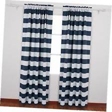 White And Navy Striped Curtains Navy Striped Curtains Ebay