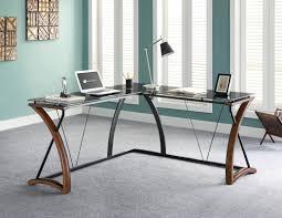 Glass And Metal Corner Computer Desk Multiple Colors L Shaped Desks You U0027ll Love Wayfair