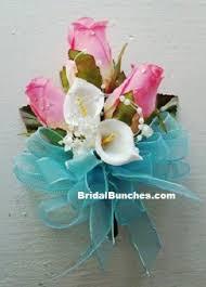 Teal Corsage Pink U0026 Pool Blue Aqua Blue Rose And White Calla Lily Wedding