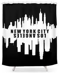 Skyline Shower Curtain Society6 New York City Los Angeles Skyline Shower Curtain